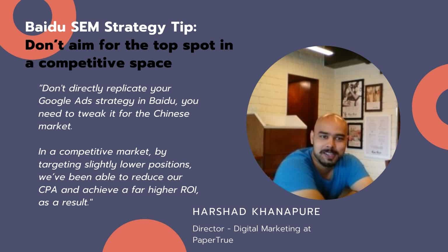 Baidu SEM strategy tip : Don't aim for the top spot in a competitive space