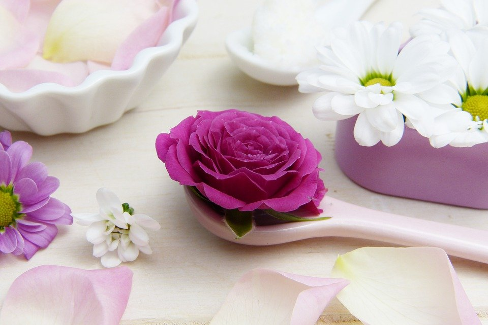 photo of pretty flowers, on a white table