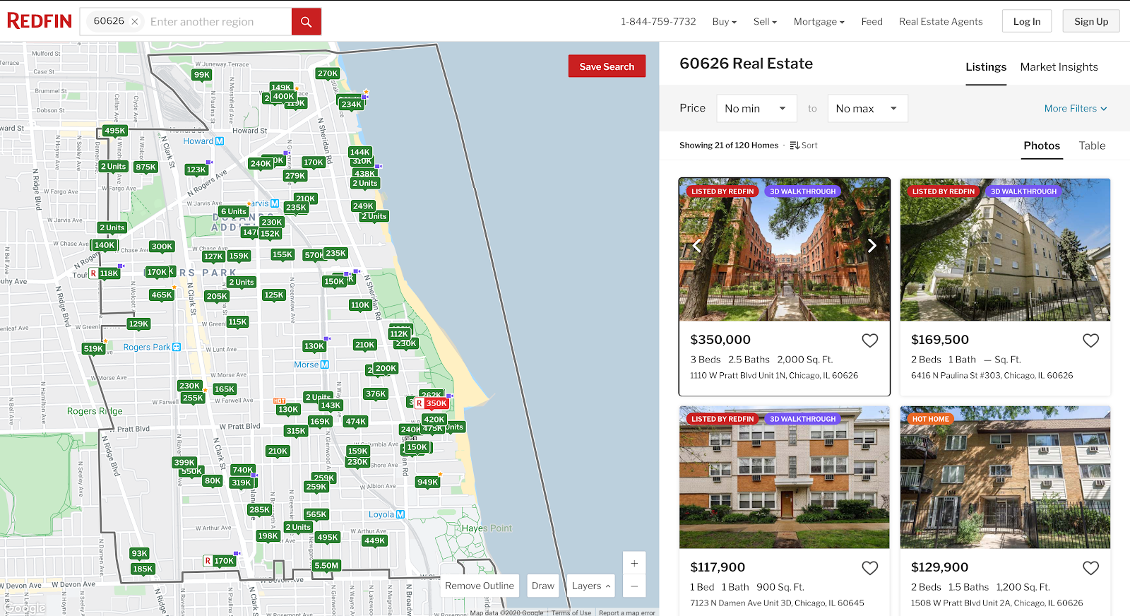Screenshot of Redfin's real-estate listings