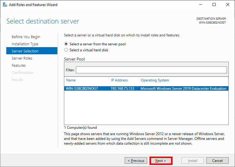 Select Destination Server Windows Server 2019