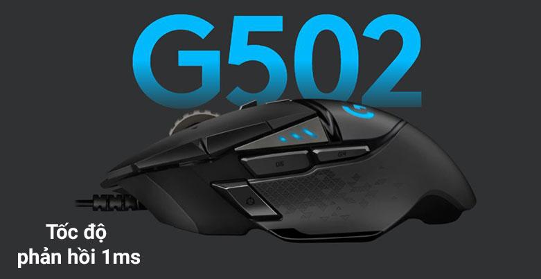 Chuột gaming Logitech G502 Hero K/DA | Tốc độ phản hồi 1ms