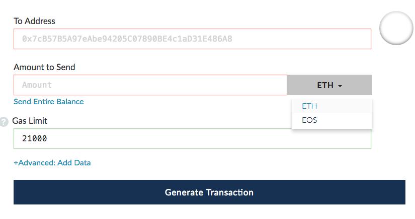 Wallet aanmaken op MyEtherWallet tokens versturen