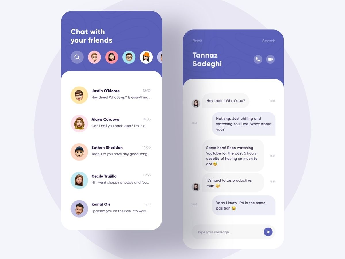 Chat app built using react native technology