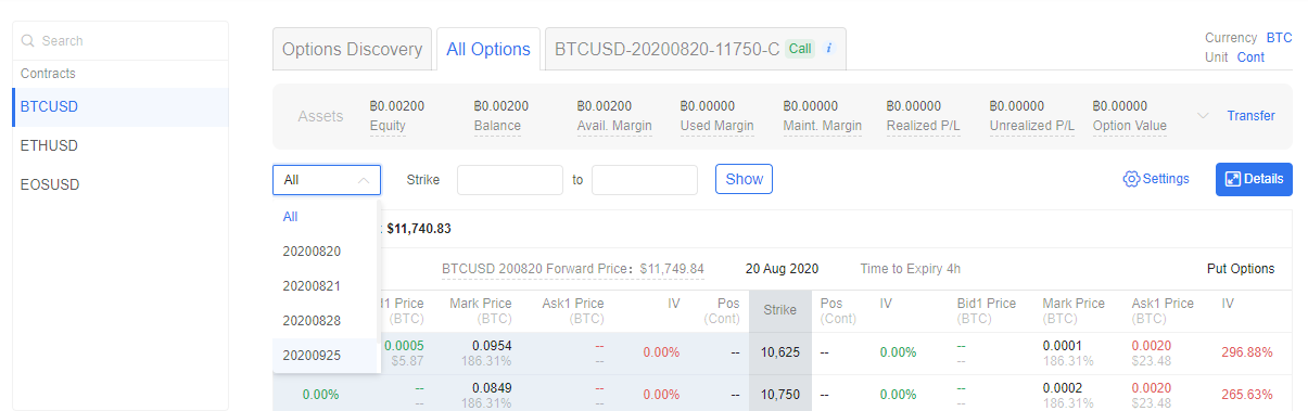 BTCUSD - options trading example