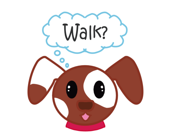 Brown and White Dog with cloud speech of Walk? and red collar exercise schedule calendar date sticker