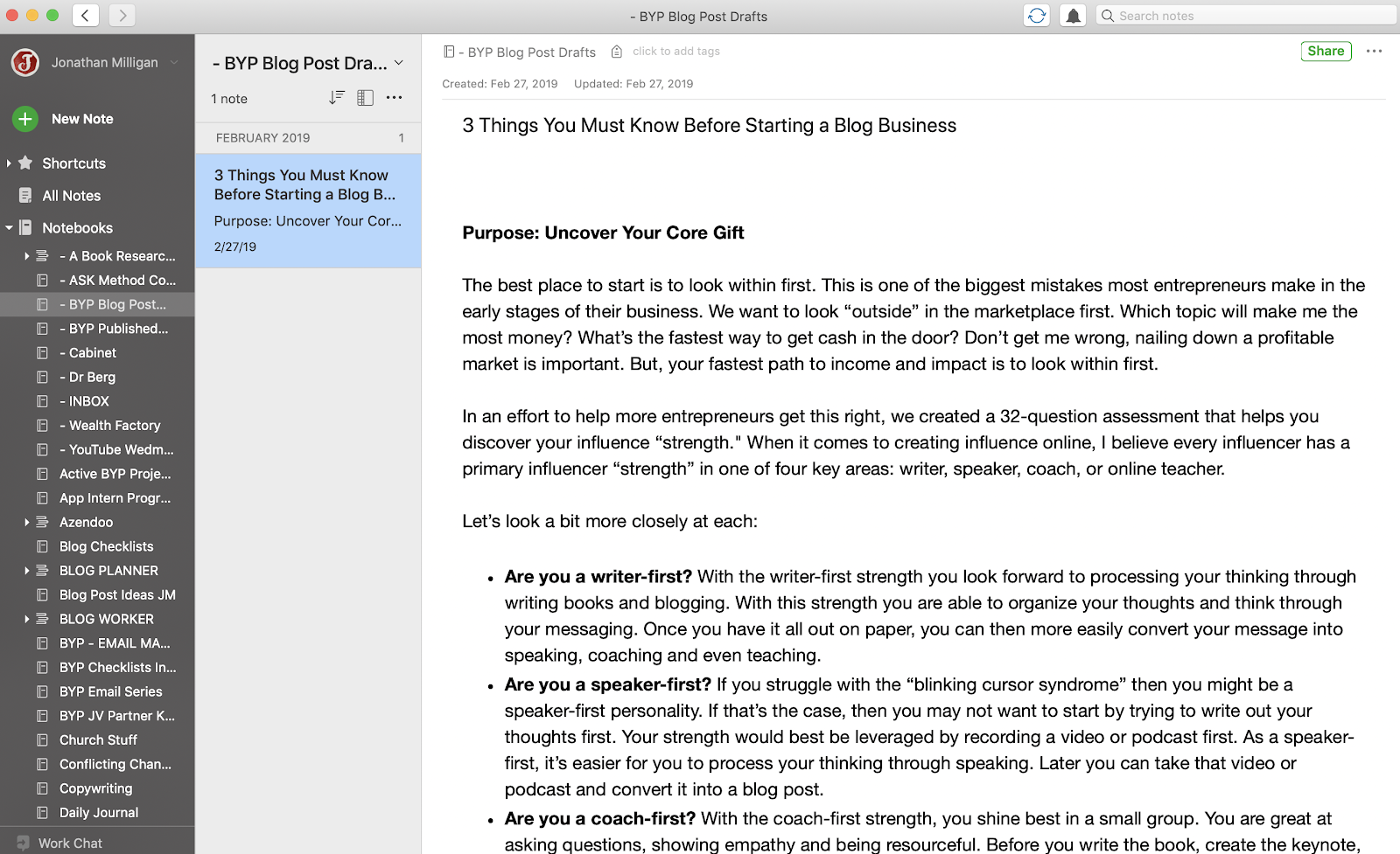 How to write blog posts in Evernote