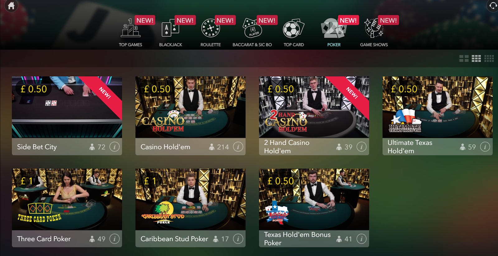 Casino Gods has loads of excellent poker games you can play