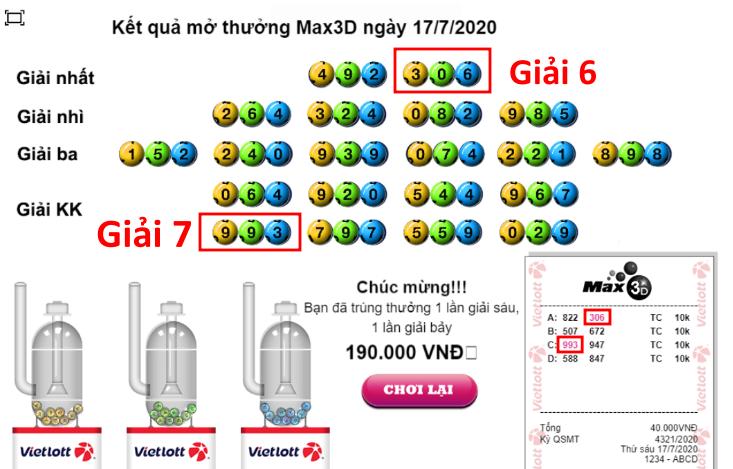 Kết quả MAX 3D+ ngày 17/7