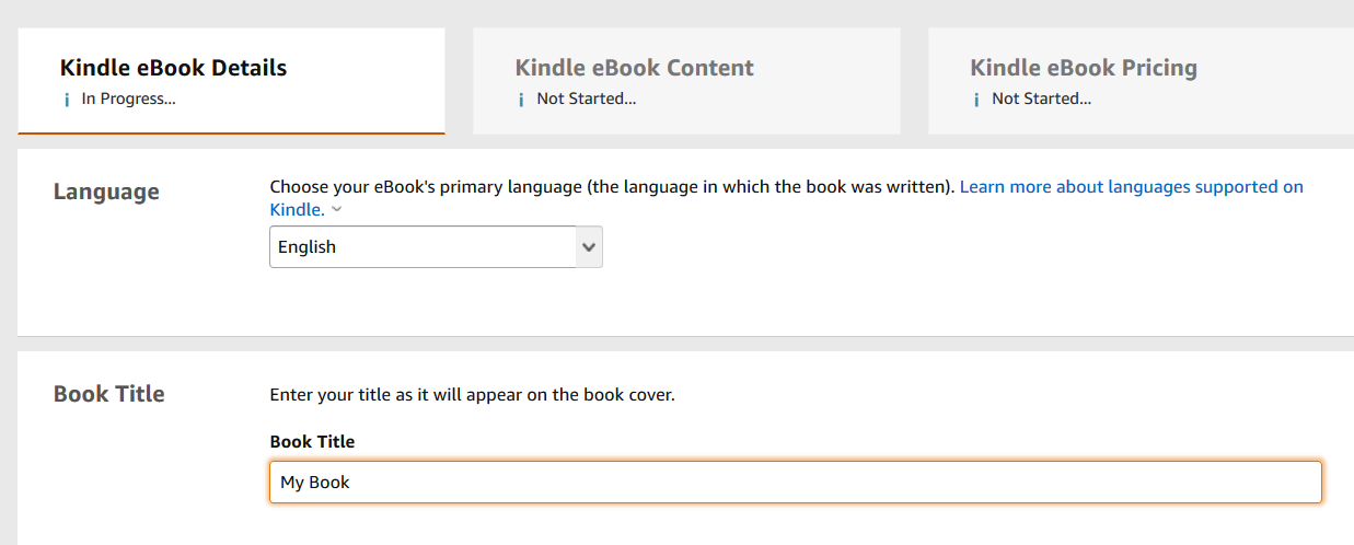 Step 2 for how to publish on Amazon KDP in 2020