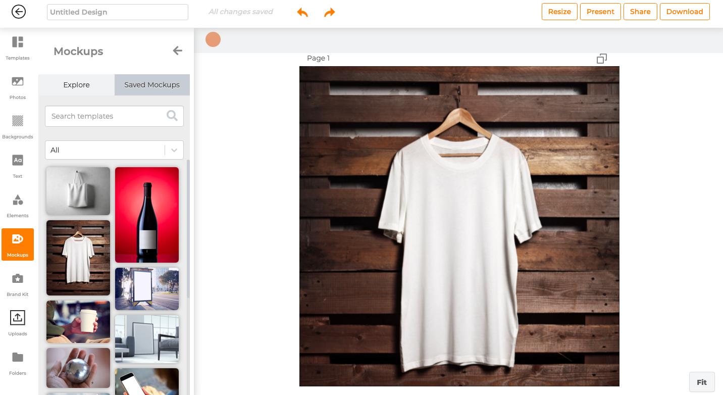 Screenshot of mockup feature in Designs.ai's Designmaker.