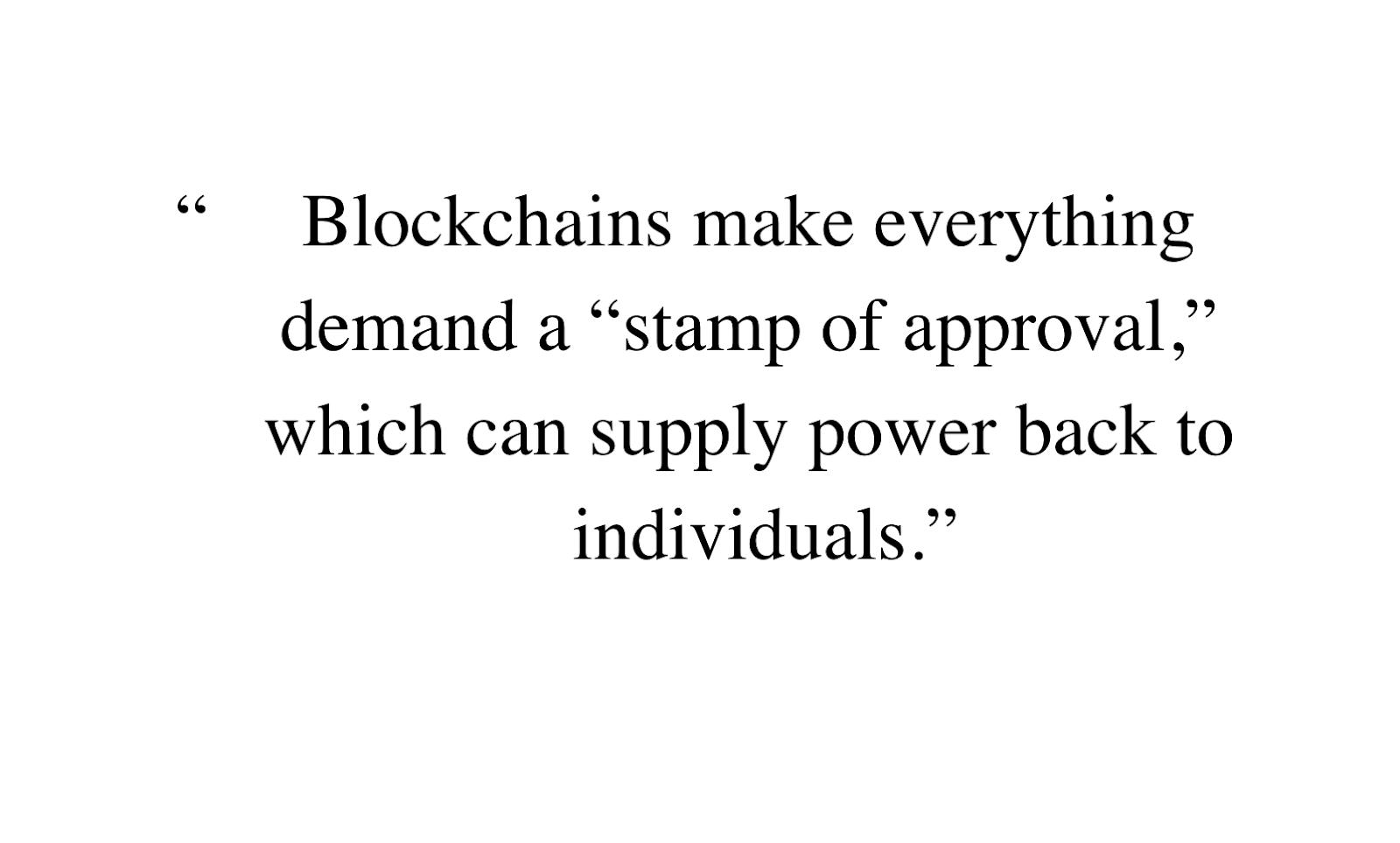 """frase da GPT-3 """"Blockchain faz tudo demandar uma estampa de aprovação, o que pode dar poder de volta aos indivíduos"""""""