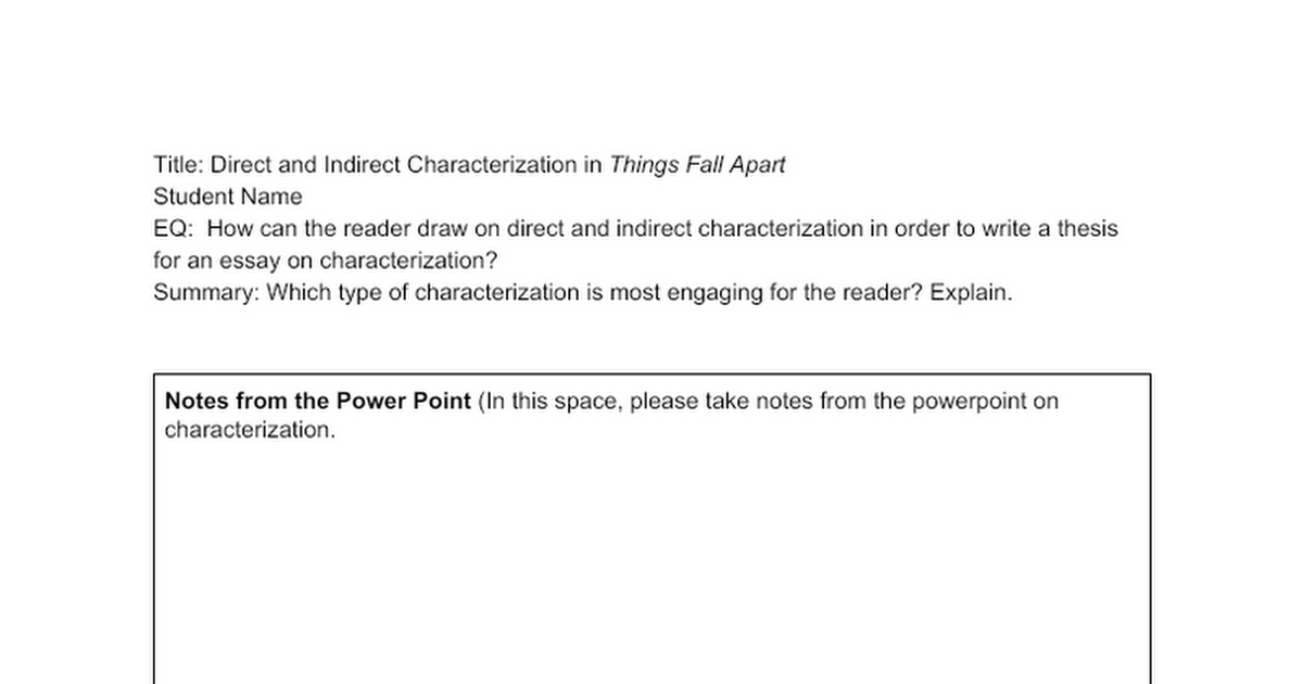 Direct And Indirect Characterization Google Docs