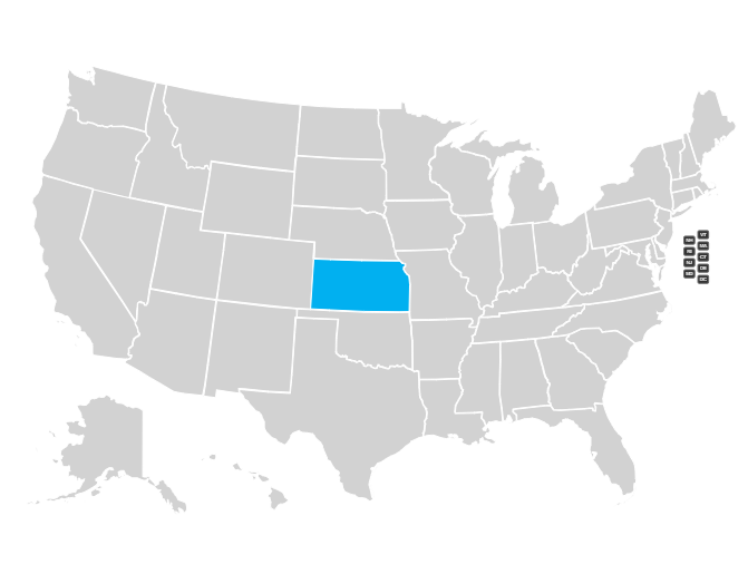 Map of the US with Kansas highlighted