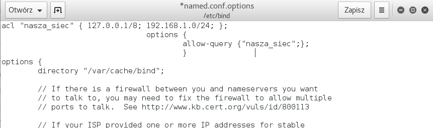 Before the global options section of named.conf.options, you must define who can query the server for any domain