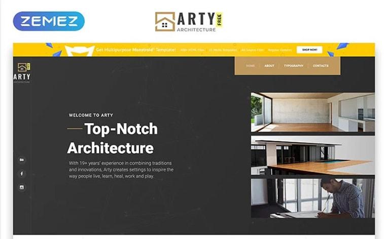 лучший бесплатный шаблон темы ботстрапа веб-сайт архитектурный дизайн строительная студия