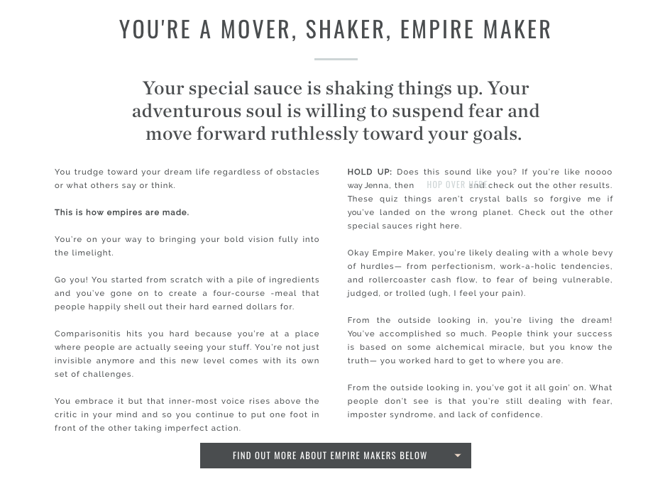 quiz results for empire maker in Jenna Kutcher's brand quiz