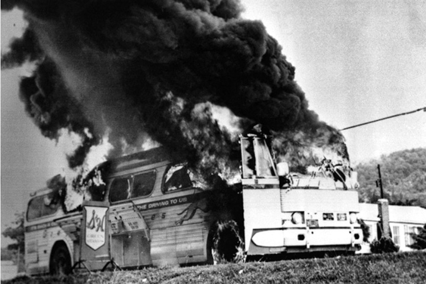 The burning Greyhound bus that carried the Freedom Riders