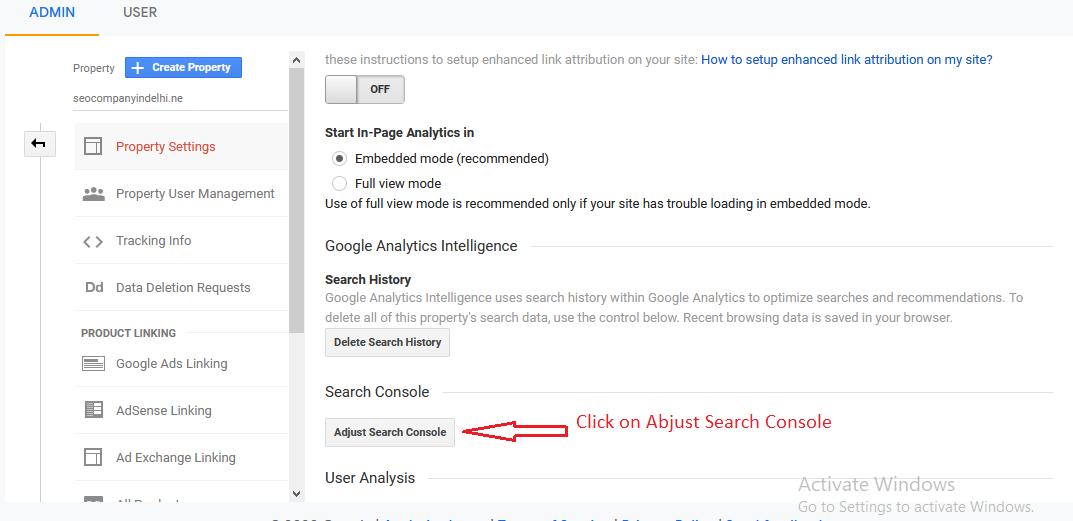 Scroll down to Search Console Settings
