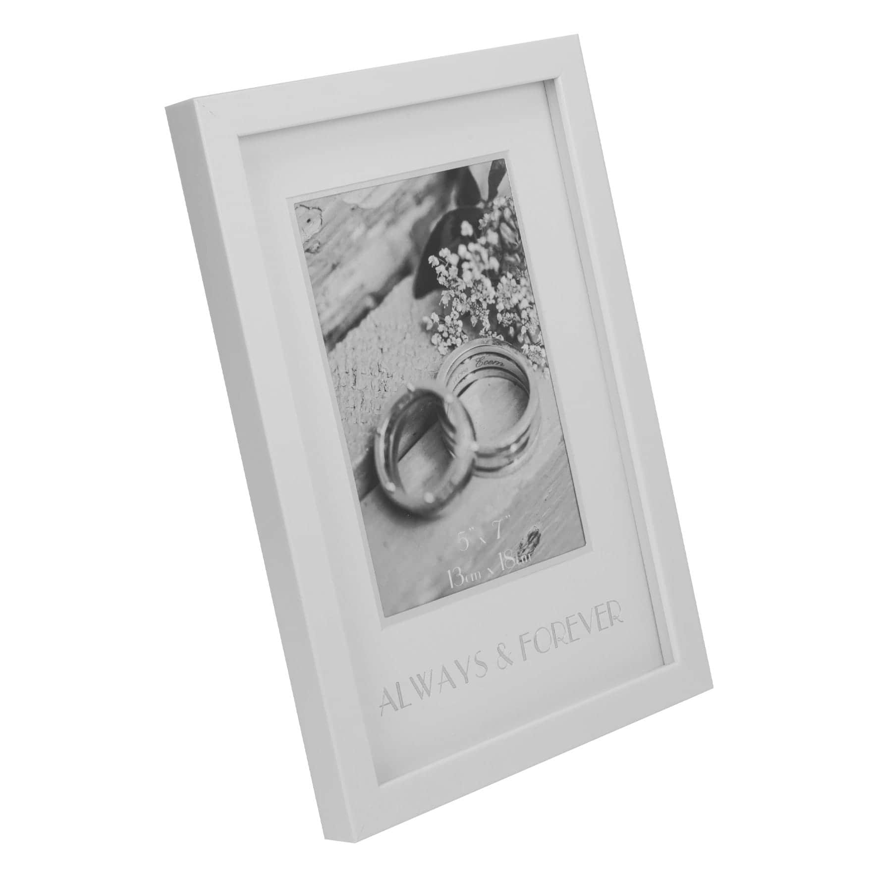 Fifth wedding anniversary; Clintons photoframe in off-white colour.