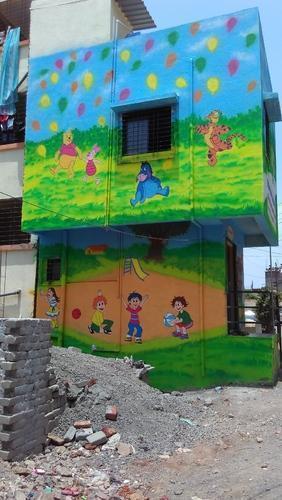 Chơi Trường Cartoon tường Dịch vụ sơn