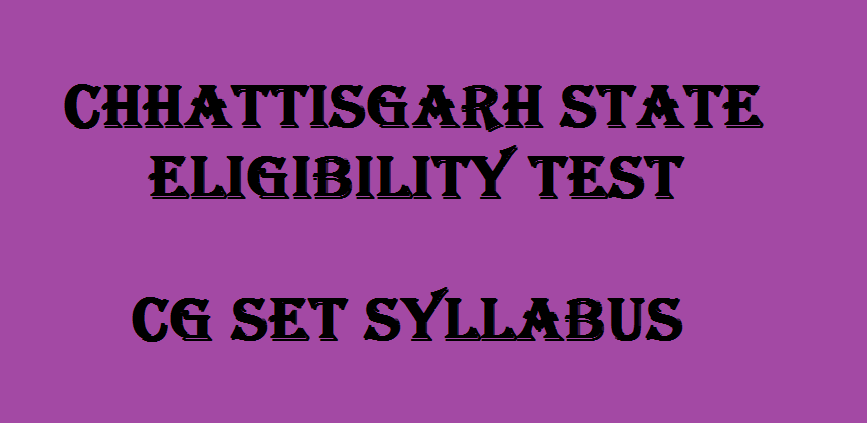 CG SET Syllabus