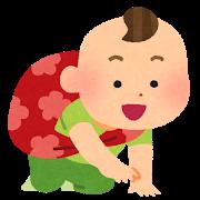 一升餅を担いでいる赤ちゃんのイラスト