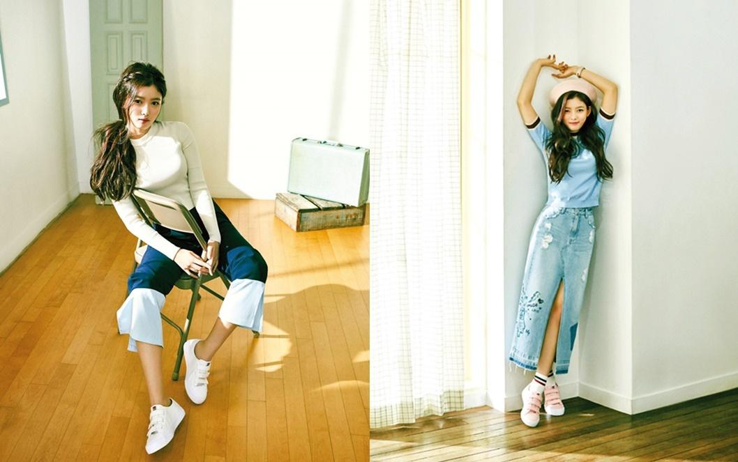 Kim Yoo Jung ca tính với váy jeans xẻ tà