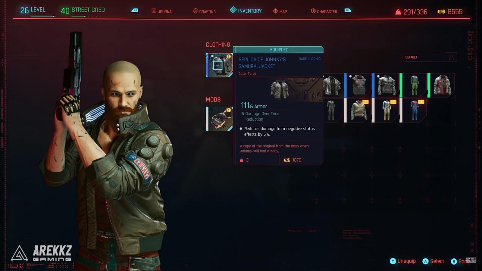 cyberpunk 2077 samurai jacket in game