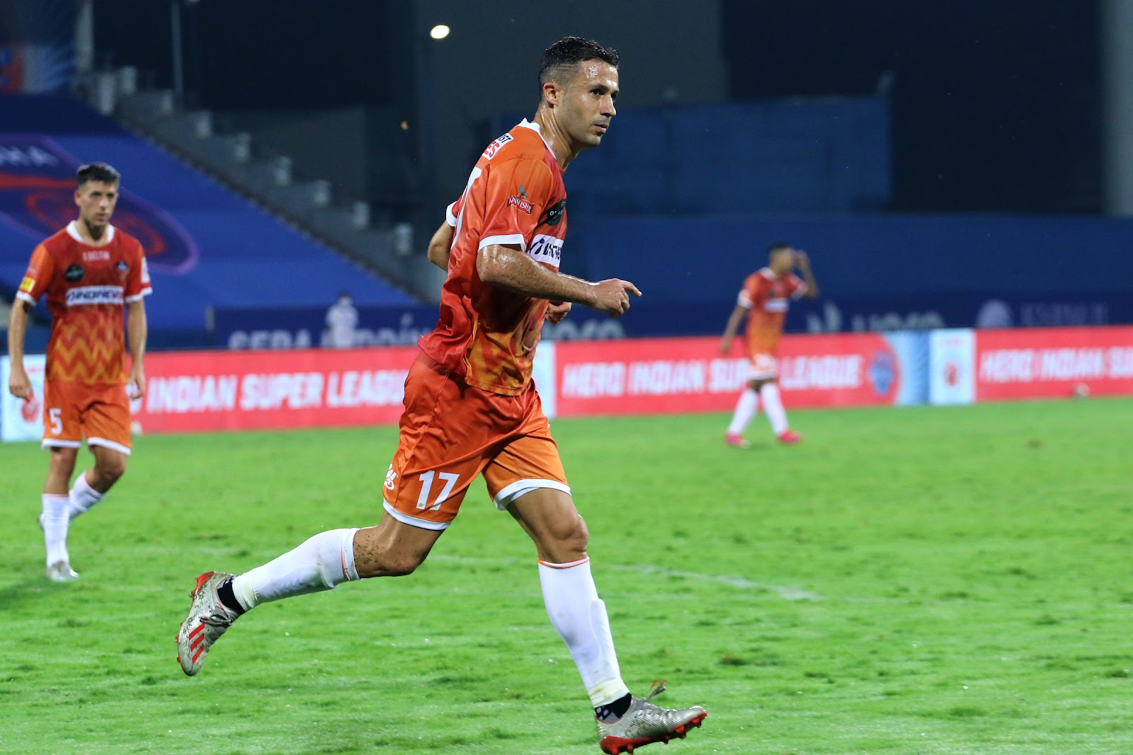 Igor Angulo celebrating a goal earlier in the season (Image Credit: Indian Super League)