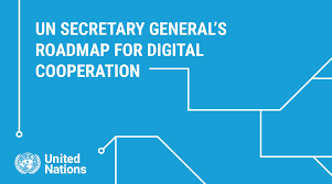 A cover page of the UN Secretary General's Roadmap for Digital Cooperation.