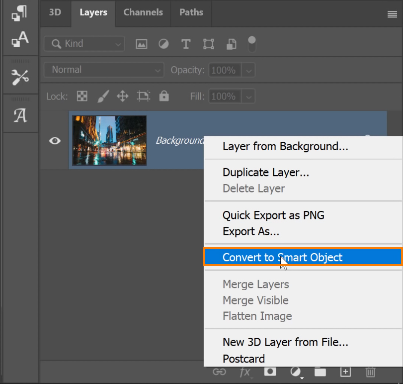 right-click on the layer and convert it into a Smart Object