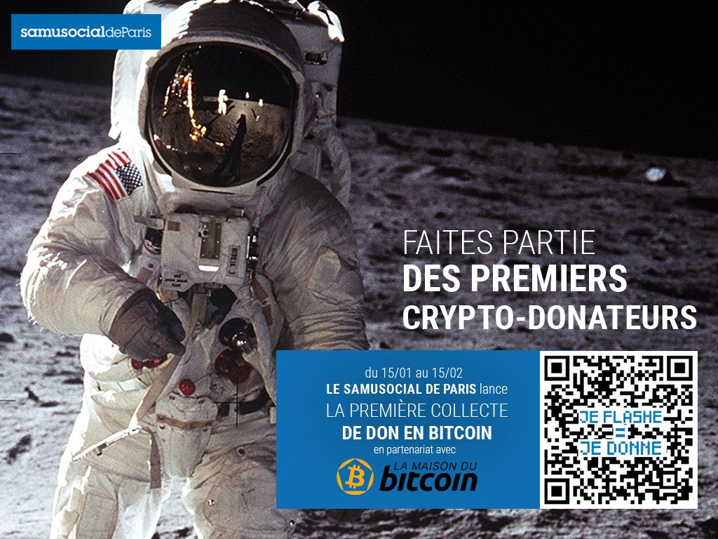 pub du samu social pour un appel aux dons en Bitcoin