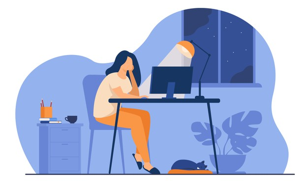 Woman working at night in home office isolated flat vector illustration. cartoon female student learning via computer or designer late at work. Free Vector