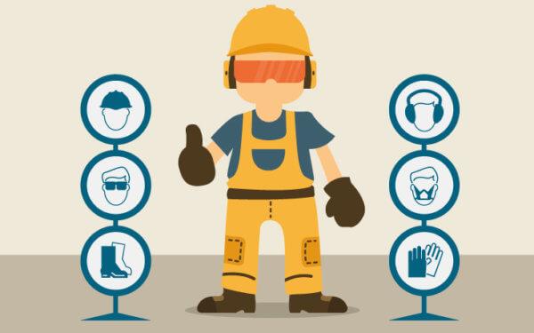Trabalhador usando as Normas de Segurança do Trabalho