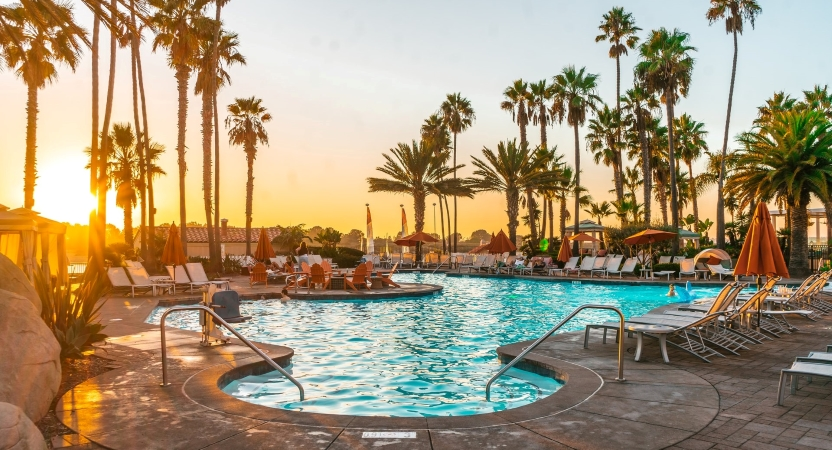 Life in San Diego includes beautiful pool-side sunsets
