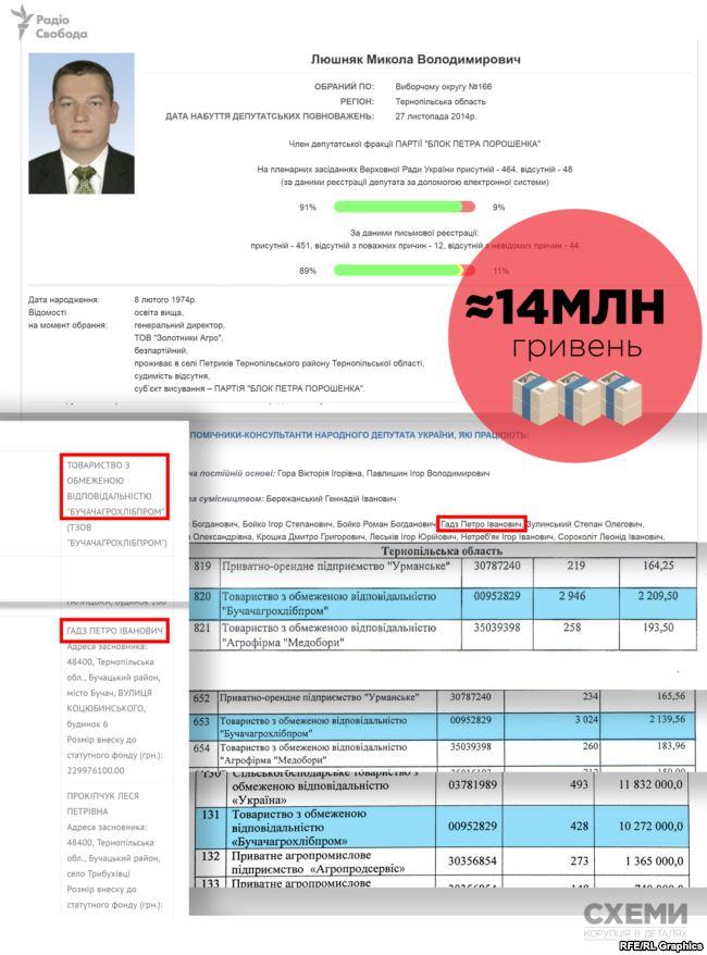 Фірма помічника депутата від «БПП» Миколи Люшняка отримала за різними напрямками щонайменше 14 мільйонів держпідтримки
