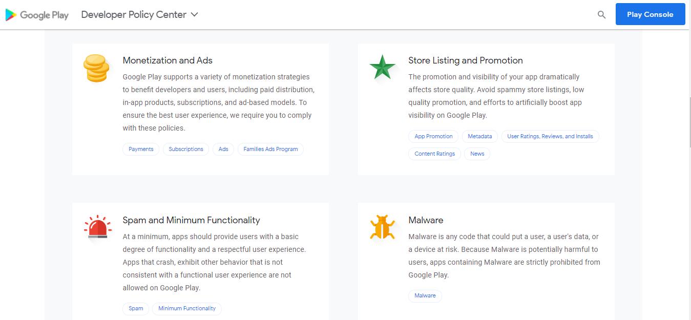 Google Developer Policy