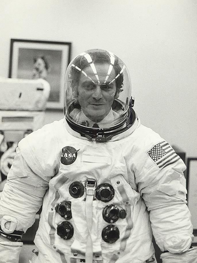 Pierre Cardin wearing Apollo 11 space suit 1969.