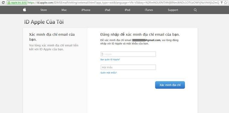Bạn điền email và mật khẩu Apple bạn đã đăng kí vào cửa sổ này để xác nhận tài khoản.