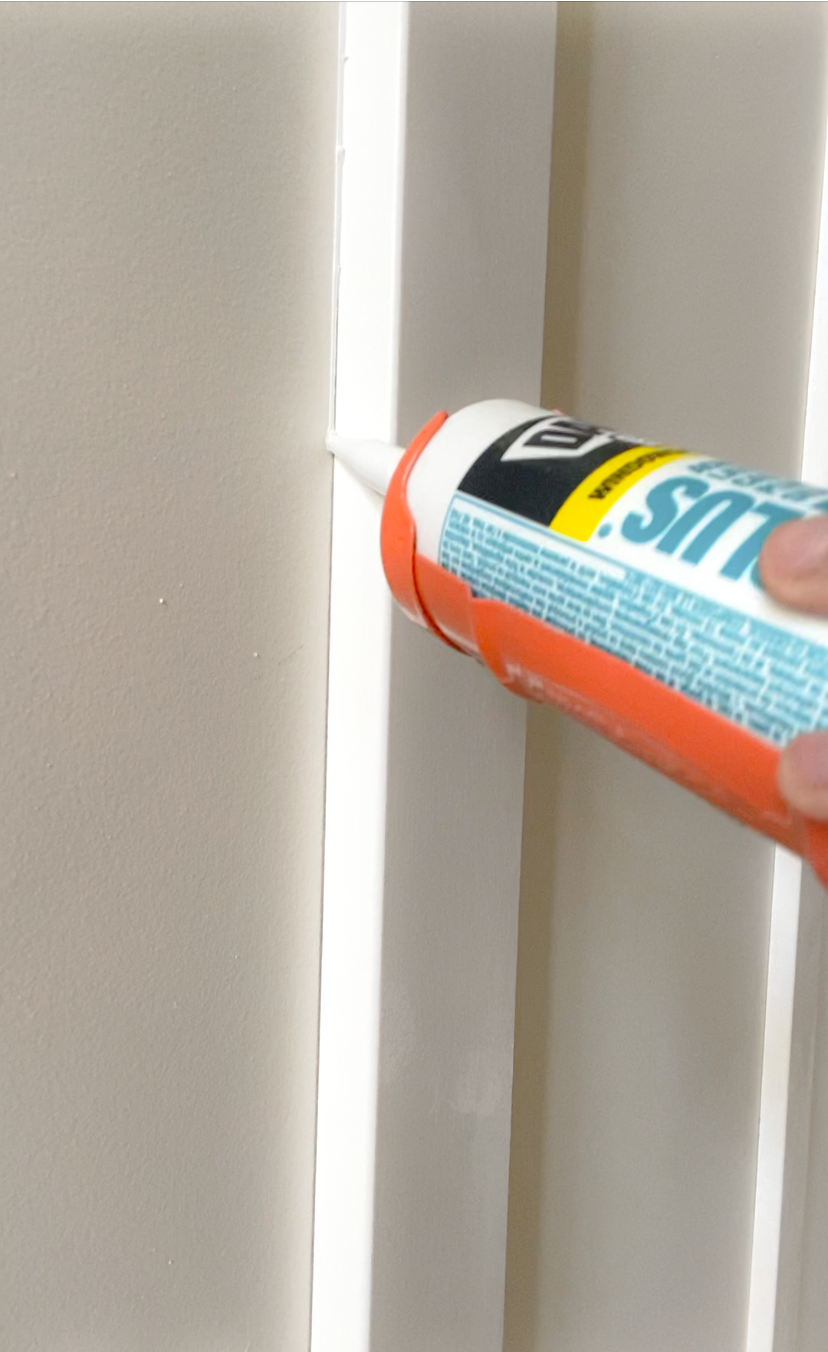 Use a thin bead of caulk for board and batten