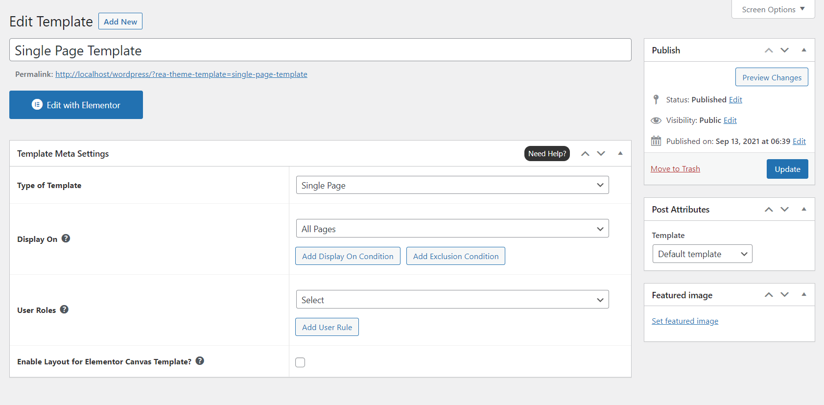 REA template settings page