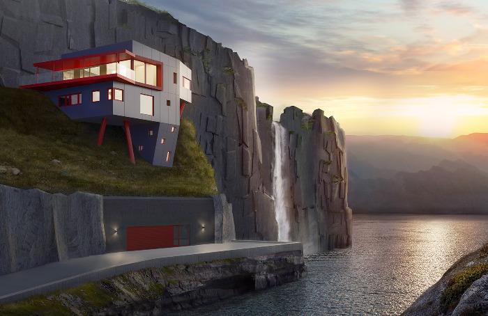Spenstig moderne hus bygget utfor en klippe ved en fjord og en foss, bygg hus med beste byggefirma i Askøy, byggefirma Askøy