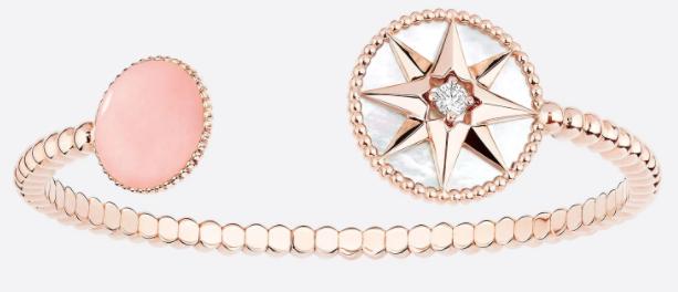 6. กำไลข้อมือผู้หญิงแบรนด์ DIOR รุ่น ROSE DES VENTS BRACELET, 18K PINK GOLD, DIAMOND, MOTHER-OF-PEARL AND PINK OPAL