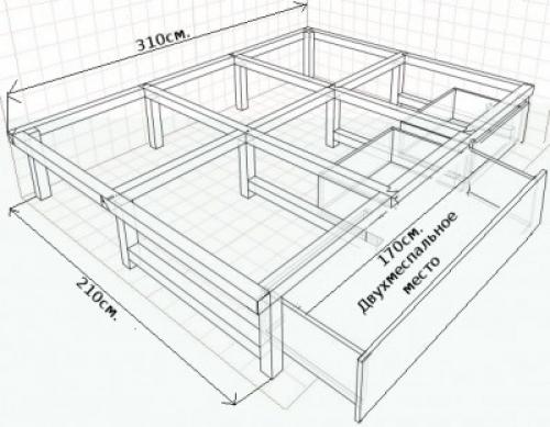 Чертеж кровати-подиума с выдвижным спальным местом