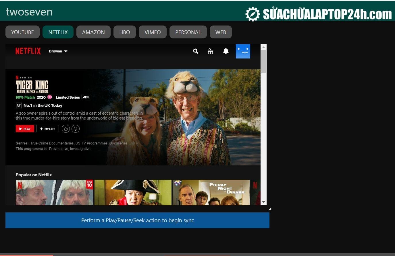 Website Twoseven có thể xem phim ở rất nhiều trang web khác