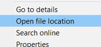 The Open File location option that appears when you right click on the process you want to uninstall