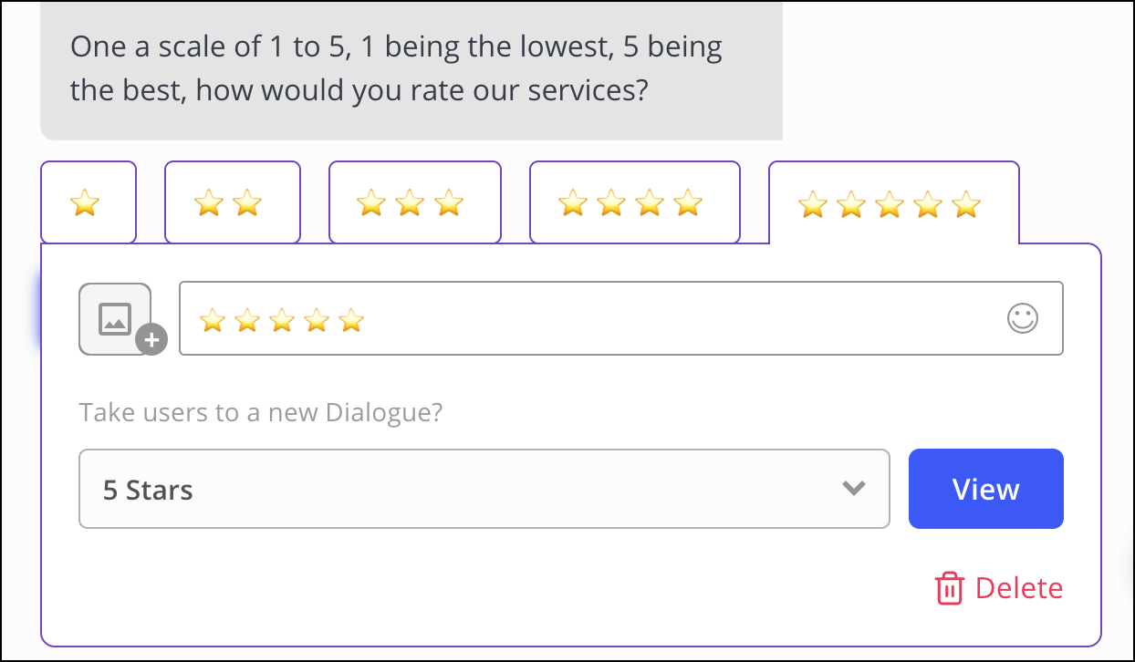 connect 5-star response to 5 star dialogue follow-up review bot