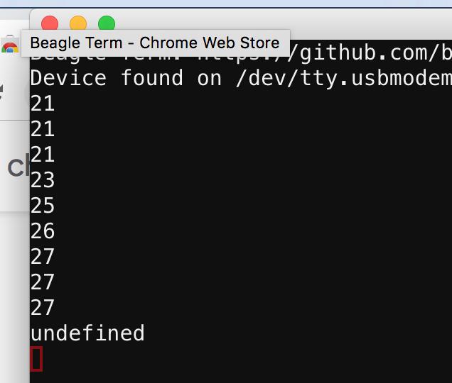 data logged with micro:bit using Beagle Term