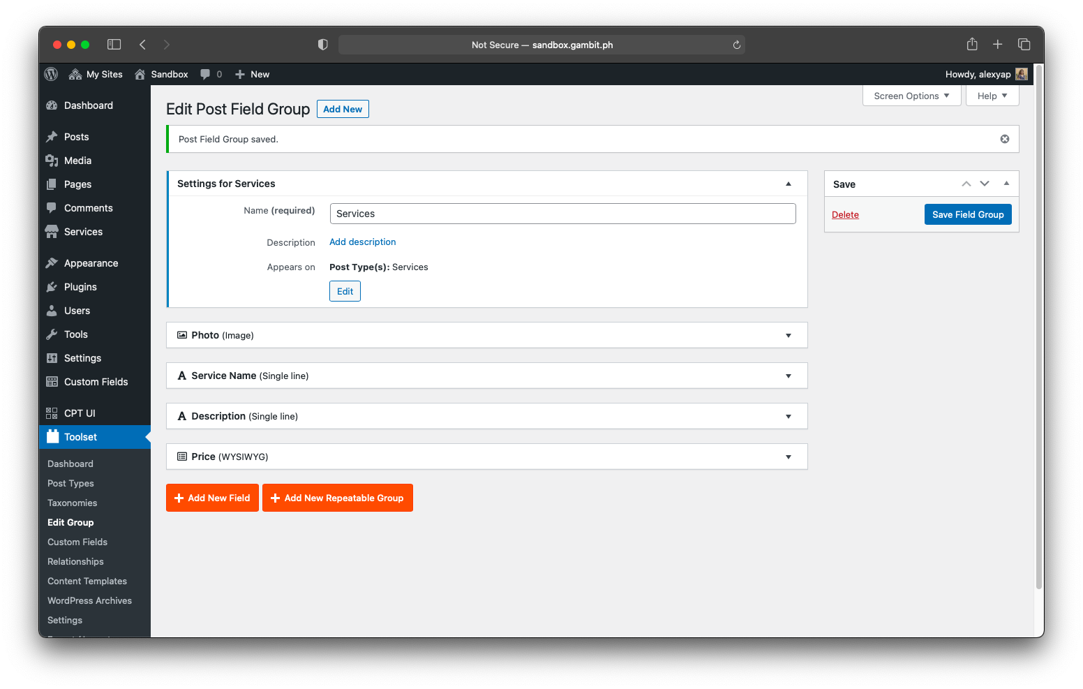 Toolset's Post Field group on the WordPress backend