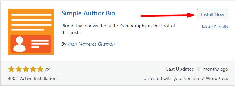 install simple author bio